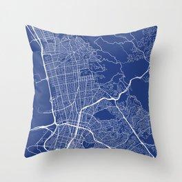 Berkeley Map, USA - Blue Throw Pillow