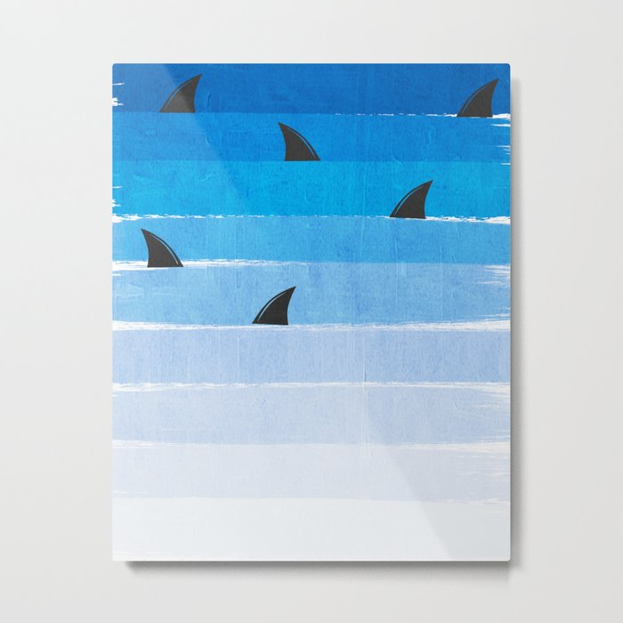 Sharks - shark week trendy black and white minimal kids pattern print ombre blue ocean surfing  Metal Print