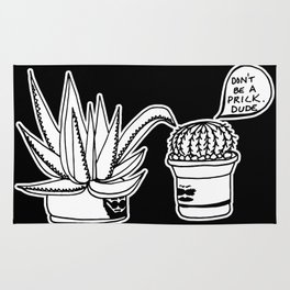 Don't Be a Prick Cacti Dude - Black and White Trendy Illustration Rug