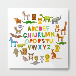 back to school. alphabet for kids from A to Z. funny cartoon animals Metal Print