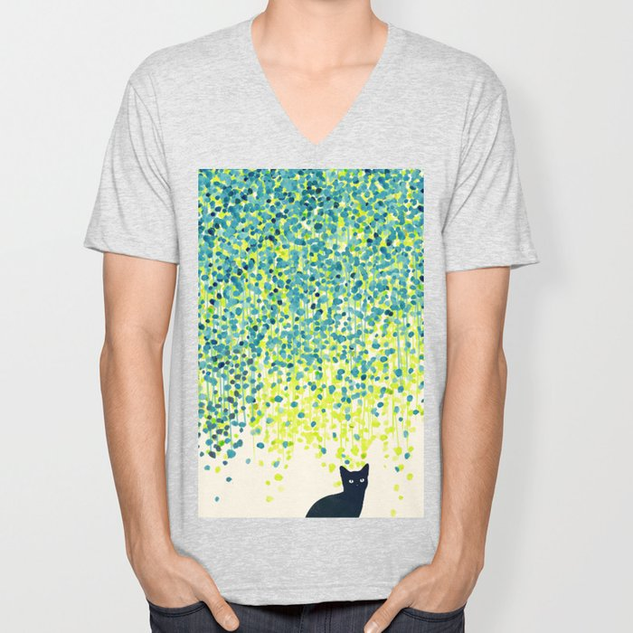 Cat in the garden under willow tree Unisex V-Neck