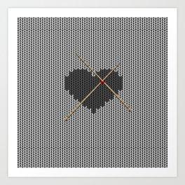 Original Knitted Heart Design Art Print