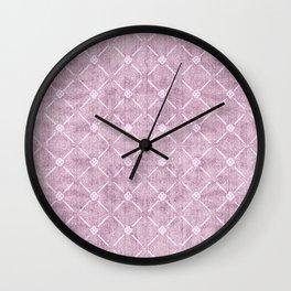 Faux Velvet Dusty Mauve Light Diamond Pattern Wall Clock
