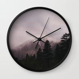 Misty Sunset on Convict Mountain Wall Clock