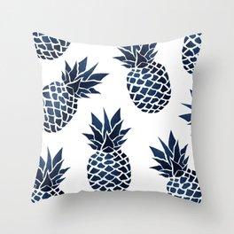 Pineapple Blue Denim Throw Pillow