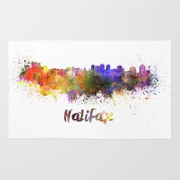 Halifax skyline in watercolor Rug
