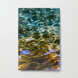Prismatic Waves in Blue Green Copper and Gold Metal Print