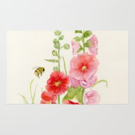 Watercolor Flower Pink Hollyhock and Bee Rug