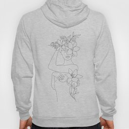 Minimal Line Art Woman with Flowers VI Hoody