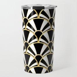 Black, White and Gold Classic Art Deco Fan Pattern Travel Mug