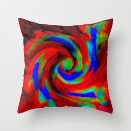 Red Blue Green Fireball Sky Explosion Throw Pillow