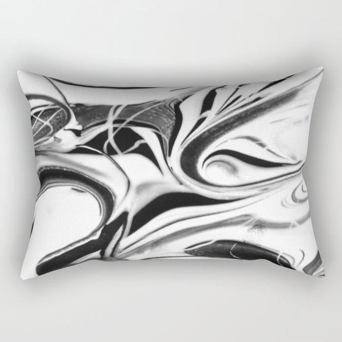 Black and white swirl - Abstract, black and white swirly, paint mix texture Rectangular Pillow