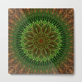 Earth Flower Mandala Metal Print