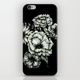 Black Floral Ink III iPhone Skin