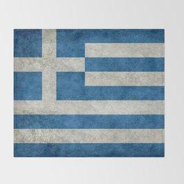 Flag of Greece, vintage retro style Throw Blanket