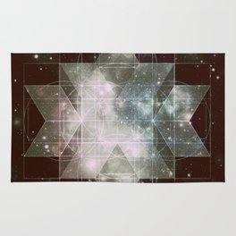 Galaxy Sacred Geometry: Dark Rhombic Hexecontahedron Rug