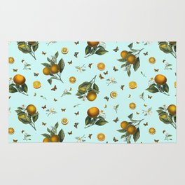 Oranges and Butterflies on Mint Rug