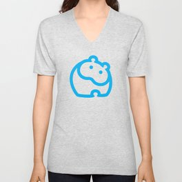 Blue hippo Unisex V-Neck