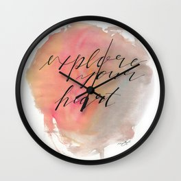 Explore Your Heart Watercolor Typography Wall Clock