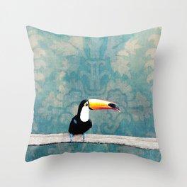 toucano tropical blue Throw Pillow
