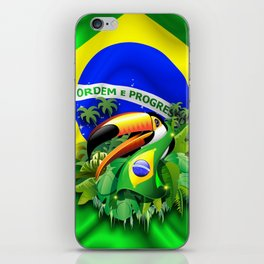 Toco Toucan with Brazil Flag iPhone Skin