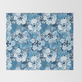 DANK DUDETTE Indigo Hibiscus Watercolor Throw Blanket