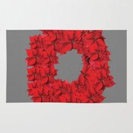 RED CHRISTMAS POINSETTIAS FLOWER WREATH DECORATIONS Rug