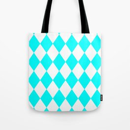 Diamonds (Aqua Cyan/White) Tote Bag