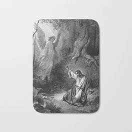 Gustave Dore - Jesus suffers agony in the garden of Gethseman Bath Mat