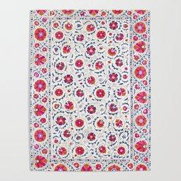 Kermina Suzani Uzbekistan Embroidery Print Poster