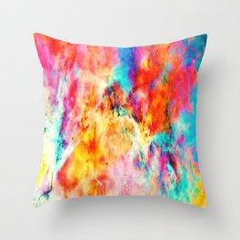 Colorful Abstract Nebula Throw Pillow