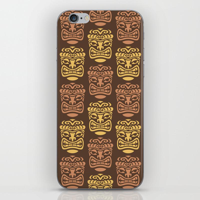 Tiki Pattern Brown Yellow Iphone & Ipod Skin by Tonymagner PSK9056556