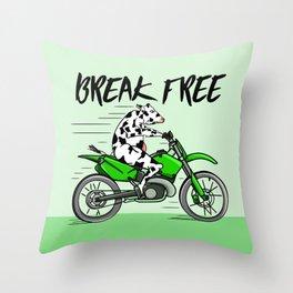 Cow riding a motorbike Throw Pillow