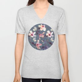 Butterflies and Hibiscus Flowers - a painted pattern Unisex V-Neck