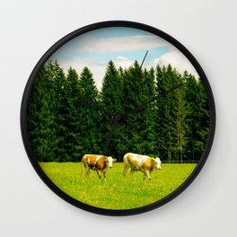 Doing the cow walk Wall Clock
