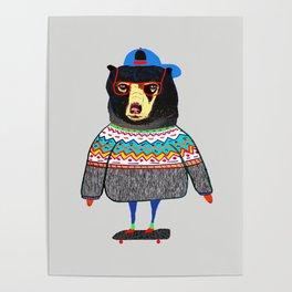 Skater Bear. Poster