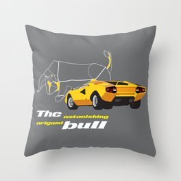 Origami Bull Throw Pillow