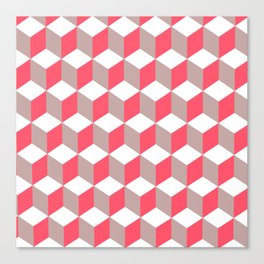 Diamond Repeating Pattern In Poppy and Soft Grey Canvas Print