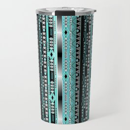 Abstract ethnic pattern in turquoise , black and white . Travel Mug