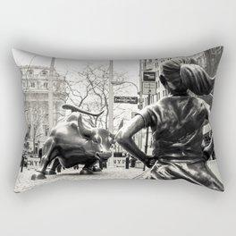 Fearless Girl & Bull - NYC Rectangular Pillow