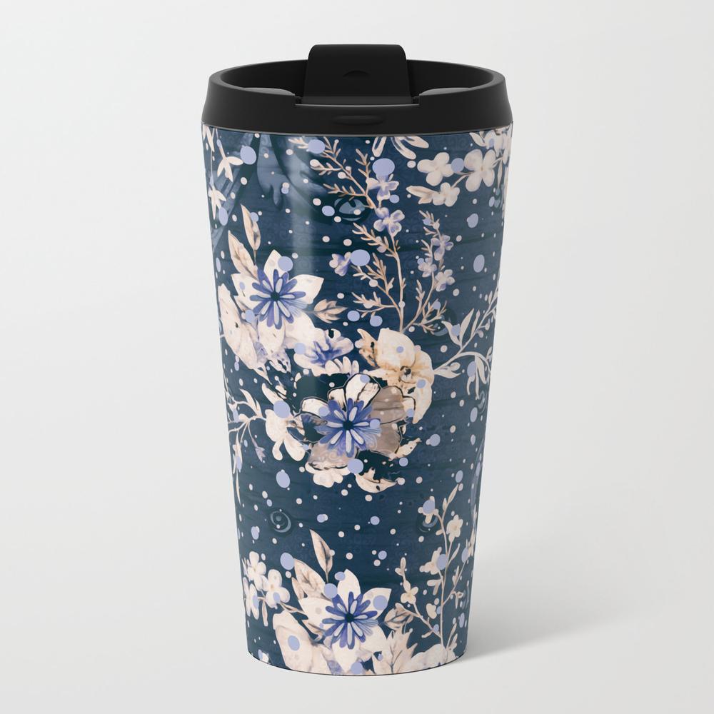 Indigo Fleurs Metal Travel Mug by Alexanderblooms MTM9125161