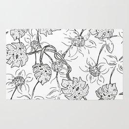 botanical black and white Rug
