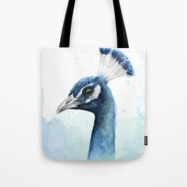 Peacock Watercolor Exotic Bird Animals Tote Bag
