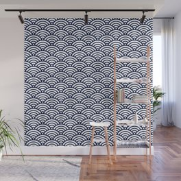 Indigo Navy Blue Wave Wall Mural