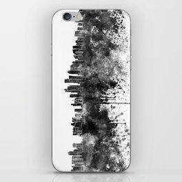 Doha skyline in black watercolor  iPhone Skin