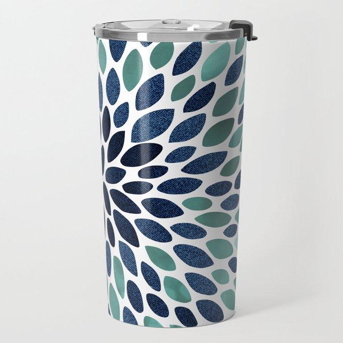 Flower Bloom, Aqua and Navy Travel Mug
