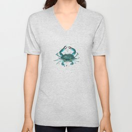 """Blue Crab"" by Amber Marine ~ Watercolor Painting, Illustration, (Copyright 2013) Unisex V-Neck"