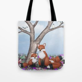 fox, cubs and tufted titmice Tote Bag