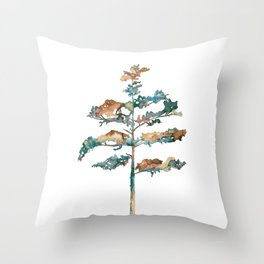 Pine Tree #2 in pink and blue - Ink painting Throw Pillow