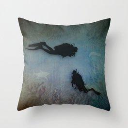 Scuba Divers Throw Pillow